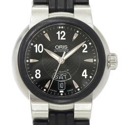オリス TT1 デイデイト 7518 44 メンズ 腕時計 黒 文字盤 デイト 裏スケルトン ラバー 自動巻き 【腕時計】★