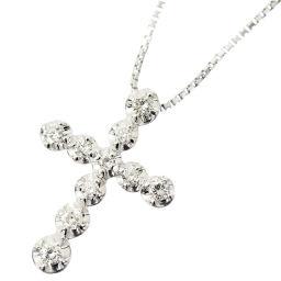 ヴァンドーム青山 ダイヤ 0.20ct クロス ネックレス 40cm K18WG 18金ホワイトゴールド 十字架 【BJ】★