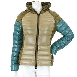 Duvetica Down Jacket Hooded Switching Cotton Khaki Blue Size 42 Women [Apparel] ★