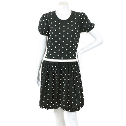 Red Valentino One-Piece Knitted Cotton Polka Dot Pattern Short Sleeve Knee Length Black Size M Women's [Apparel]