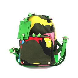 Valentino Garabani Camouflage Rock studs nylon leather backpack [Brand] ★