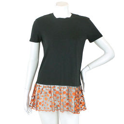 Red Valentino Top Top T-shirt Lace Polka Dot Black Orange S Size Womens [Apparel] ★
