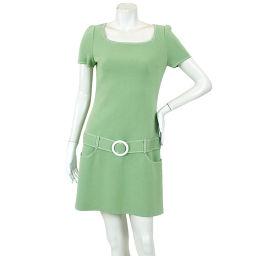 Foxy One Piece Knit Short Sleeve Mini Length Stitch Belt Green Size 40 Womens [Apparel] ★