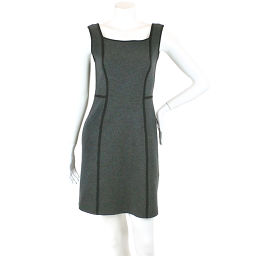 FOXY FOXE one-piece wool knit plain piping piping gray size 38 ladies [Apparel] ★