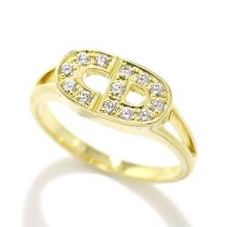 クリスチャン ディオール ロゴ ダイヤ リング K18YG 11号 18金イエローゴールド 750 Christian Dior 【BJ】★