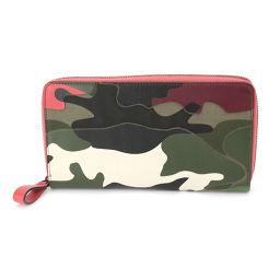 Valentino Garavani camouflage pattern Round zipper Long wallet leather canvas [Brand] ★
