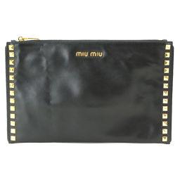ミュウ ミュウ MIU MIU クラッチ バッグ ゴールド スタッズ レザー ブラック RP0373 【ブランド】★