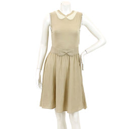 Red Valentino One-Piece Knitted Wool Belt Sleeveless Knee Length Beige Size M Women's [Apparel] ★