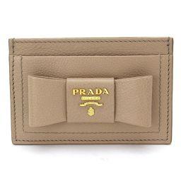 プラダ PRADA リボン カードケース レザー ベージュ 1MC208 【ブランド】★