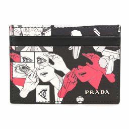 プラダ PRADA コミック プリント カードケース レザー NERO ブラック 2MC149 【ブランド】★