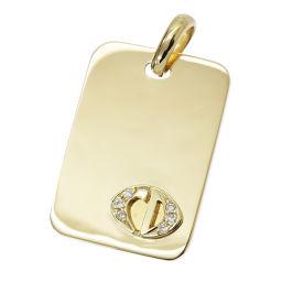 クリスチャン ディオール ロゴ ダイヤ ペンダント トップ K18YG 18金 750 プレート Christian Dior 【BJ】★