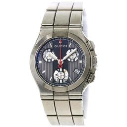グッチ GUCCI クロノグラフ レディース 腕時計 124 4 チタニウム グレー ブラック 【腕時計】★