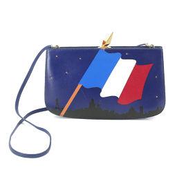 エルメス HERMES サック アマリース フランス国旗 ショルダー バッグ ボックスカーフ ブルー 【ブランド】★