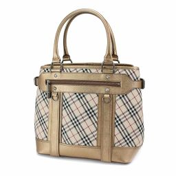 Burberry BURBERRY Check Tote Bag PVC Leather Beige Gold 【Brand】 ★