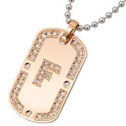 Samantha Tiara diamond 0.39ct necklace K18PG 18 gold SV silver 925 initials F dog tag [BJ] ★