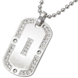 Samantha Tiara Initial I Diamond 0.36ct Necklace K18WG 18K SV Silver Dog Tag Samantha Tiara [BJ] ★
