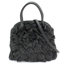 Valentino Garavani Flower 2way Hand Shoulder Bag Leather Black [Brand] ★