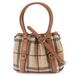 Shindo BURBERY BURBERRY Check 2way Tote Shoulder Bag PVC Leather Brown 【Brand】 ★