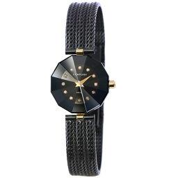センチュリー CENTURY タイムジェム 12P ダイヤ レディース 腕時計 ブラック 文字盤 【腕時計】★