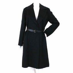 未使用 展示品 ルイヴィトン ロング コート ベルト付き ウール ブラック サイズ 36 レディース LV 【アパレル】★