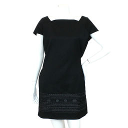Yves Saint Laurent One Piece Short Sleeve Embroidery Wool Black Size 34 Ladies YSL [Apparel] ★