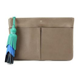 Anyah Hind March ANYA HINDMARCH Tassel Clutch Bag Leather Beige [Brand] ★