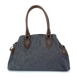 Fendi FENDI Etnico Tote Bag Denim Leather Blue Brown 8BN162 [Brand] ★