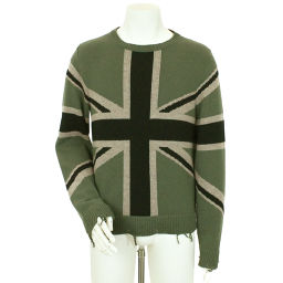 Valentino Knit Sweater Cashmere Outerwear British Flag Green Size S Mens [Apparel] ★