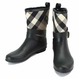 Burberry Rain Boots Check Rubber Canvas Black Brown 38 24.0 24.5 cm [Accessories] ★