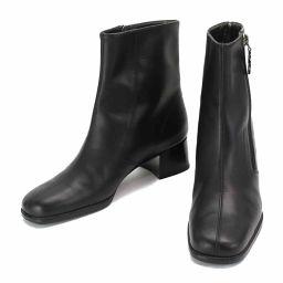 サルヴァトーレ フェラガモ ガンチーニ ショート ブーツ レザー ブラック 3 1/2 22.0 22.5cm  【小物】★
