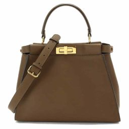 Unused exhibits Fendi Peek-a-boo regular 2 way hand bag leather brown 8BN290 [Brand] ★