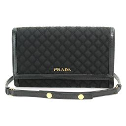 Shindo Prada chain wallet two folds long wallet quilted nylon leather 1MT437 [Brand] ★