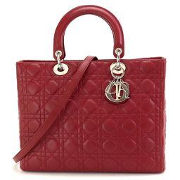 Christian Dior Lady Dior 2way hand shoulder bag leather CAL44560 [brand] ★