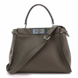 Fendi FENDI Peekaboo 2way hand shoulder bag leather charcoal gray 8BN290 [Brand] ★