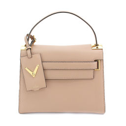 Unused exhibits Valentino Galavani Mylock studs hand bag leather pink [Brand] ★