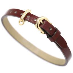 カルティエ レザー ダイヤ ブレスレット 18.5cm K18YG 18金イエローゴールド 750 Cartier 【BJ】★
