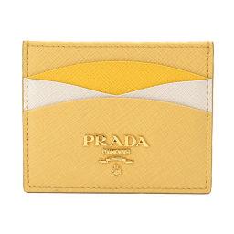 未使用 プラダ カードケース サフィアーノレザー イエロー ホワイト 1MC025 ゴールド 金具 【ブランド】★