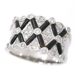 オニキス ダイヤ 0.60ct K18WG リング 12号 18金ホワイトゴールド ダイア 指輪 【NJ】★