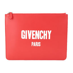 New Unused Givenchy GIVENCHY Clutch Bag Leather Red White Logo Printed [Brand] ★