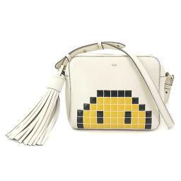 Anyya Hind March Pixel Smiley Shoulder Bag Leather Chalk Ivory [Brand] ★