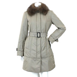 Burberry London coat knee length batting outer fur belt with beige size 38 ladies [apparel] ★
