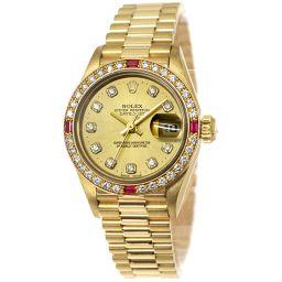 ロレックス ROLEX デイトジャスト 69068G ダイヤ ルビー レディース 腕時計 K18YG 【腕時計】★