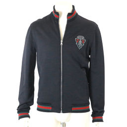 Gucci Jacket Blouson Long Sleeve ZIP Patch Nylon Black Size M Men's GG [Used] [Apparel] ★