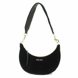 Shindou Miu Miu MIUMIU Velor 2way Shoulder Bag Leather Black 5BC034 [Brand] ★