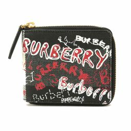Unused Burberry Sketch Book Round Zip Wallet Wallet PVC Black Red White [Brand] ★