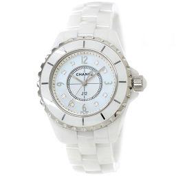 シャネル J12 33mm H2422 腕時計 8P ダイヤ ホワイトシェル 文字盤 ホワイト セラミック 【腕時計】★