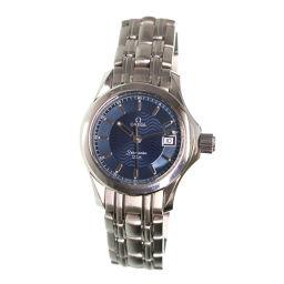 オメガ シーマスター120 2581 81 レディース 腕時計 デイト ブルー 文字盤 クォーツ ウォッチ 【腕時計】★