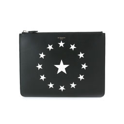 New goods unused Givenchy circle star clutch bag leather black white BK06072 [brand] ★