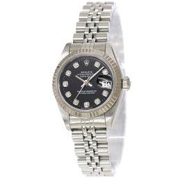 ロレックス ROLEX デイトジャスト 69174G W番 レディース 腕時計 10Pダイヤ ブラック 文字盤 K18WG 【腕時計】★