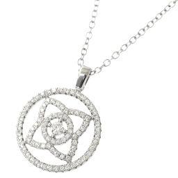 De Beers DE BEERS Anchante Lotus Diamond Necklace 42cm K18WG [BJ] ★